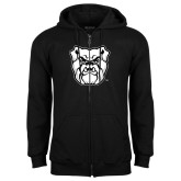 Black Fleece Full Zip Hoodie-Bulldog Head