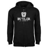 Black Fleece Full Zip Hoodie-Butler University Stacked Bulldog Head