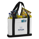 Contender White/Black Canvas Tote-Butler University Stacked Bulldog Head