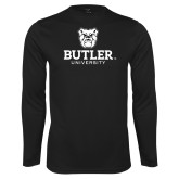Performance Black Longsleeve Shirt-Butler University Stacked Bulldog Head