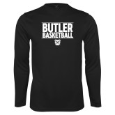 Performance Black Longsleeve Shirt---Stacked Block Basketball
