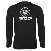 Performance Black Longsleeve Shirt---Volleyball Ball Design