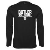 Performance Black Longsleeve Shirt---Stacked Block Volleyball