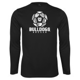 Syntrel Performance Black Longsleeve Shirt---Soccer Ball Design