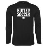 Performance Black Longsleeve Shirt---Soccer Ball Design