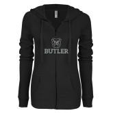 ENZA Ladies Black Light Weight Fleece Full Zip Hoodie-Butler Stacked w/Bulldog Head