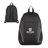 Atlas Black Computer Backpack-Butler University Stacked Bulldog Head