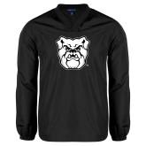 V Neck Black Raglan Windshirt-Bulldog Head