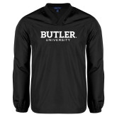 V Neck Black Raglan Windshirt-Butler University