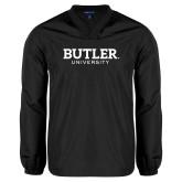 V Neck Black Raglan Windshirt-Butler University