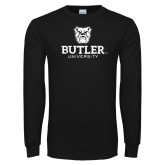 Black Long Sleeve TShirt-Butler University Stacked Bulldog Head Distressed