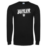 Black Long Sleeve TShirt-Slanted Lines