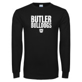 Black Long Sleeve TShirt-Butler Bulldogs Stacked Block Texture