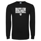 Black Long Sleeve TShirt---Stacked Block Basketball