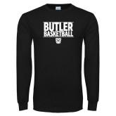 Black Long Sleeve TShirt---Stacked Block Basketball