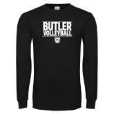 Black Long Sleeve TShirt---Stacked Block Volleyball
