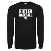 Black Long Sleeve TShirt---Stacked Block Baseball