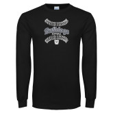 Black Long Sleeve TShirt---Softball Seams Designs