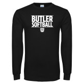 Black Long Sleeve TShirt---Stacked Block Softball