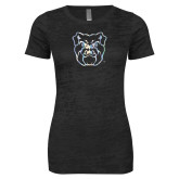 Next Level Ladies Junior Fit Black Burnout Tee-Bulldog Head Foil