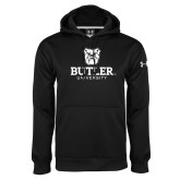Under Armour Black Performance Sweats Team Hoodie-Butler University Stacked Bulldog Head