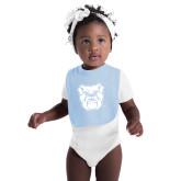 Light Blue Baby Bib-Bulldog Head