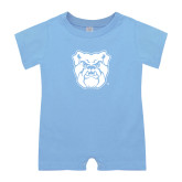 Light Blue Infant Romper-Bulldog Head