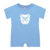 Light Blue Infant Romper-Bulldog Head