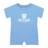 Light Blue Infant Romper-Butler University Stacked Bulldog Head