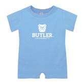 Light Blue Infant Romper-Butler University Stacked Bulldog Head