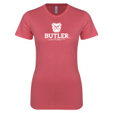 Next Level Ladies SoftStyle Junior Fitted Pink Tee-Butler University Stacked Bulldog Head