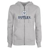 ENZA Ladies Grey Fleece Full Zip Hoodie-Butler University Stacked Bulldog Head
