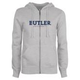 ENZA Ladies Grey Fleece Full Zip Hoodie-Butler University