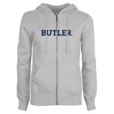 ENZA Ladies Grey Fleece Full Zip Hoodie-Butler