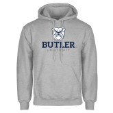 Grey Fleece Hoodie-Butler University Stacked Bulldog Head