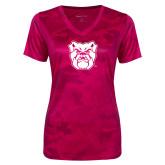 Ladies Pink Raspberry Camohex Performance Tee-Bulldog Head
