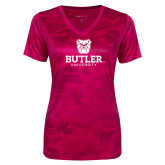 Ladies Pink Raspberry Camohex Performance Tee-Butler University Stacked Bulldog Head