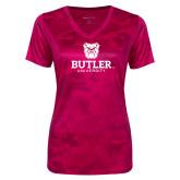 Ladies Pink Raspberry Camohex Performance Tee-Butler University Stacked Bulldog Head