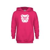 Youth Raspberry Fleece Hoodie-Bulldog Head