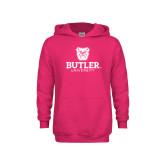 Youth Raspberry Fleece Hoodie-Butler University Stacked Bulldog Head