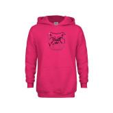 Youth Raspberry Fleece Hoodie-Bulldog Head Foil