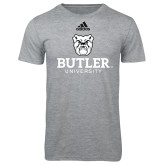 Adidas Sport Grey Logo T Shirt-Butler University Stacked Bulldog Head