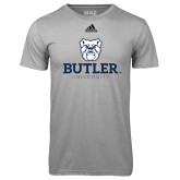 Adidas Climalite Sport Grey Ultimate Performance Tee-Butler University Stacked Bulldog Head