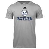 Adidas Climalite Sport Grey Ultimate Performance Tee-Butler University Stacked Bulldog Head