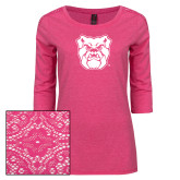 Ladies Dark Fuchsia Heather Tri Blend Lace 3/4 Sleeve Tee-Bulldog Head