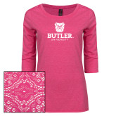Ladies Dark Fuchsia Heather Tri Blend Lace 3/4 Sleeve Tee-Butler University Stacked Bulldog Head