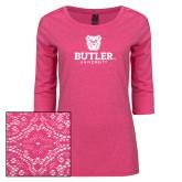 Ladies Dark Fuchsia Heather Tri Blend Lace 3/4 Sleeve Tee-Butler University Stacked Bulldog Head