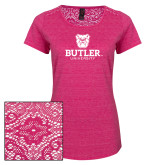Ladies Dark Fuchsia Heather Tri-Blend Lace Tee-Butler University Stacked Bulldog Head
