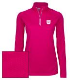 Ladies Pink Raspberry Sport Wick Textured 1/4 Zip Pullover-Bulldog Head
