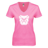 Next Level Ladies Junior Fit Ideal V Pink Tee-Bulldog Head